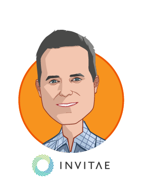 Main caricature of Sean George, who is speaking at HLTH and is CEO at Invitae