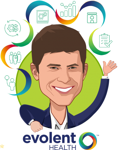 Overlay caricature of Seth Blackley, who is speaking at HLTH and is President & Co-Founder at Evolent Health