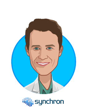 Main caricature of Thomas Oxley MD PhD, who is speaking at HLTH and is CEO at Synchron