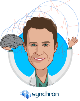 Overlay caricature of Thomas Oxley MD PhD, who is speaking at HLTH and is CEO at Synchron