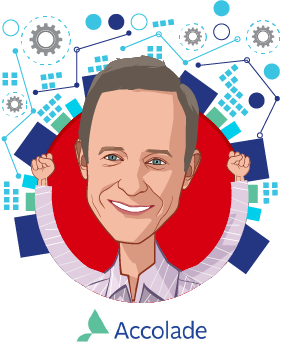 Overlay caricature of Tom Spann, who is speaking at HLTH and is Founder and Chairman at Accolade