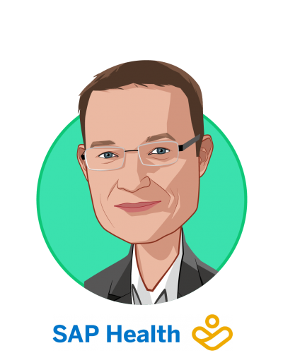 Main caricature of Dr. Werner Eberhardt, who is speaking at HLTH and is Global Head, SAP Health at SAP
