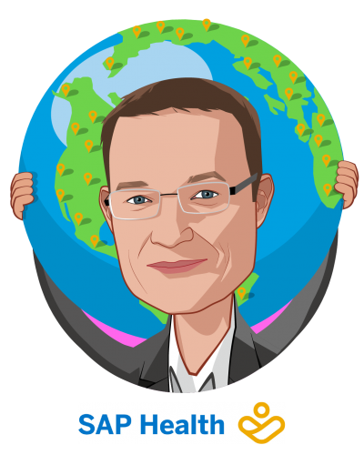 Overlay caricature of Dr. Werner Eberhardt, who is speaking at HLTH and is Global Head, SAP Health at SAP
