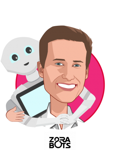 Overlay caricature of Benjamin Le Cam, who is speaking at HLTH and is Vice President US - Business Development at ZoraBots
