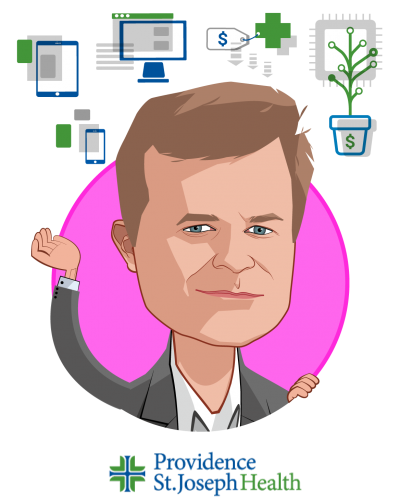 Overlay caricature of Aaron Martin, who is speaking at HLTH and is EVP, Chief Digital Officer at Providence St. Joseph Health