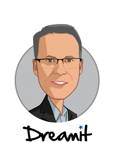 Main caricature of Adam Dakin, who is speaking at HLTH and is Managing Director, Health at Dreamit Ventures