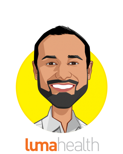 Main caricature of Adnan Iqbal, who is speaking at HLTH and is Co-Founder & CEO at Luma Health
