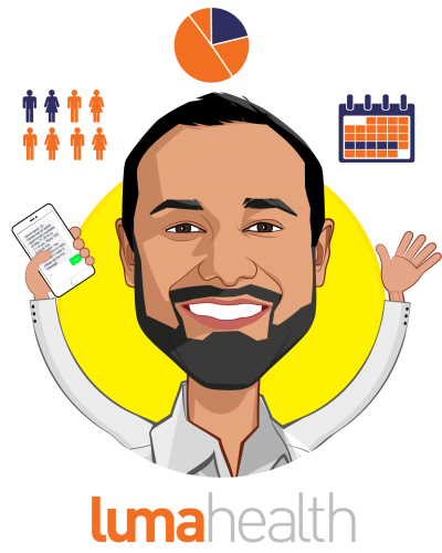 Overlay caricature of Adnan Iqbal, who is speaking at HLTH and is Co-Founder & CEO at Luma Health