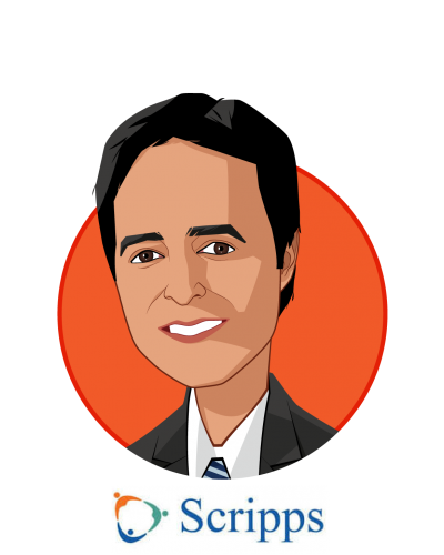 Main caricature of Anil N. Keswani, MD, who is speaking at HLTH and is Corporate Vice President at Scripps Health