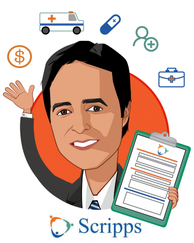 Overlay caricature of Anil N. Keswani, MD, who is speaking at HLTH and is Corporate Vice President at Scripps Health