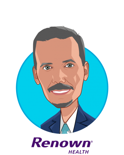 Main caricature of Anthony Slonim, M.D., Dr.PH., FACHE, who is speaking at HLTH and is President & CEO at Renown Health