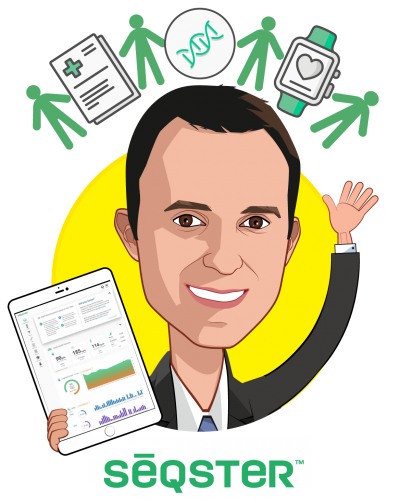 Overlay caricature of Ardy Arianpour, who is speaking at HLTH and is CEO & Co-Founder at Seqster
