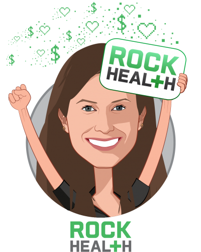 Overlay caricature of Becca Shmukler, who is speaking at HLTH and is Business Development & Partnerships Lead at Rock Health