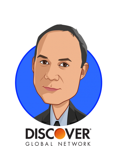 Main caricature of Bill Dulin, who is speaking at HLTH and is Vice President, Global Business Development at Discover Global Network