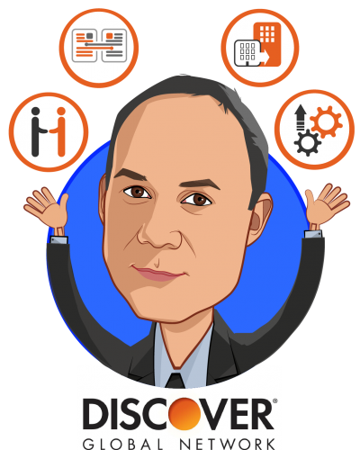 Overlay caricature of Bill Dulin, who is speaking at HLTH and is Vice President, Global Business Development at Discover Global Network