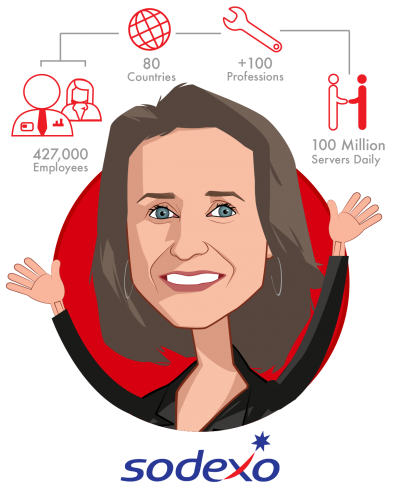 Overlay caricature of Catherine J. Tabaka, who is speaking at HLTH and is President & CEO, Sodexo Healthcare - North America at Sodexo - Healthcare
