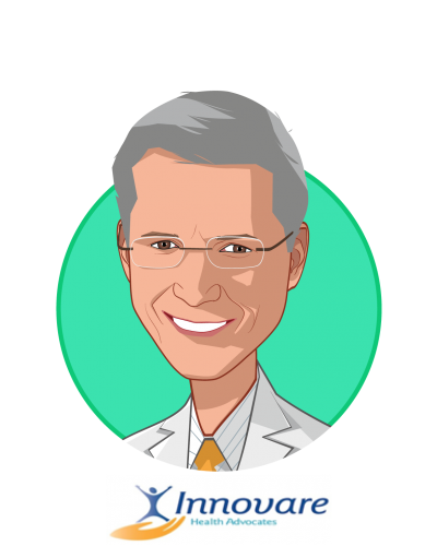 Main caricature of Charles Willey, M.D., who is speaking at HLTH and is CEO, Chief Medical Officer at Innovare Health Advocates