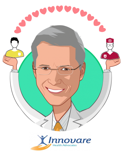 Overlay caricature of Charles Willey, M.D., who is speaking at HLTH and is CEO, Chief Medical Officer at Innovare Health Advocates