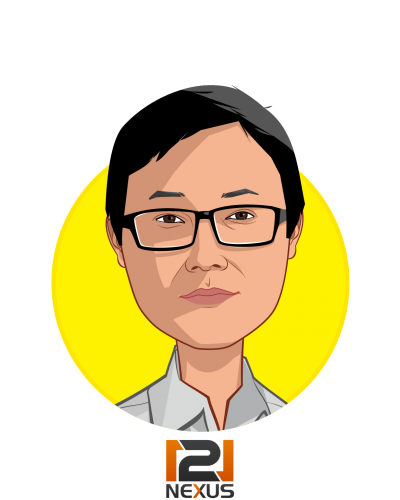Main caricature of Charlie Kim, who is speaking at HLTH and is CEO at 121nexus