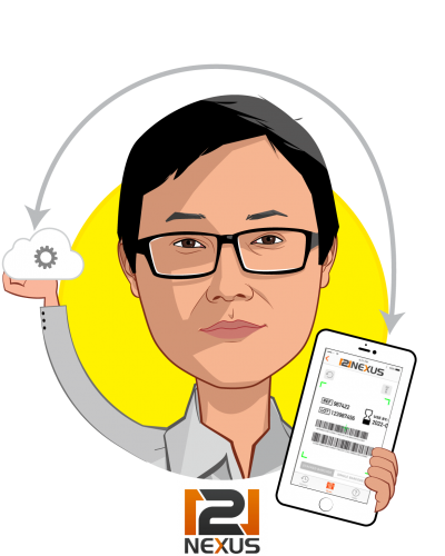 Overlay caricature of Charlie Kim, who is speaking at HLTH and is CEO at 121nexus