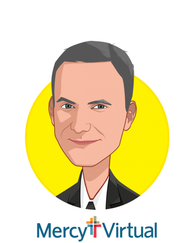 Main caricature of Chris Schlanger, MD, MBA, who is speaking at HLTH and is Program Development & Strategy at Mercy Virtual
