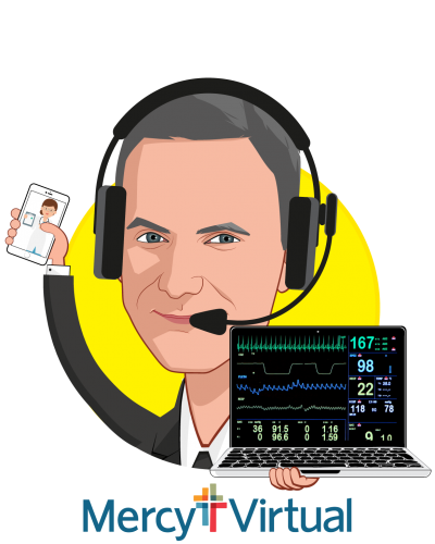 Overlay caricature of Chris Schlanger, MD, MBA, who is speaking at HLTH and is Program Development & Strategy at Mercy Virtual
