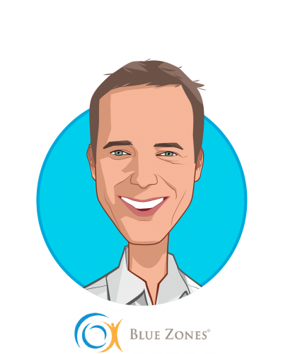 Main caricature of Dan Buettner, who is speaking at HLTH and is Founder at Blue Zones, LLC