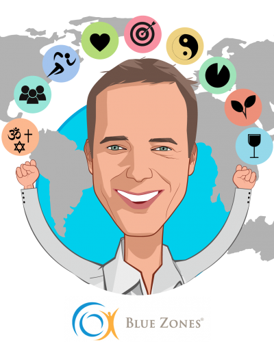 Overlay caricature of Dan Buettner, who is speaking at HLTH and is Founder at Blue Zones, LLC