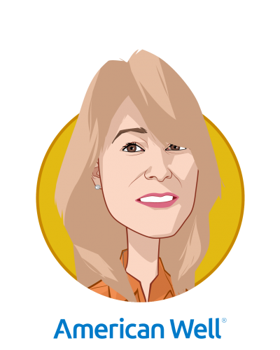 Main caricature of Danielle Russella, who is speaking at HLTH and is President and General Manager, Health Plan Solutions at American Well