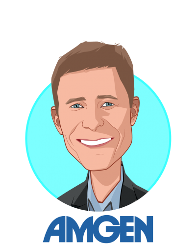 Main caricature of David M. Reese, who is speaking at HLTH and is Senior Vice President, Translational Sciences and Oncology at Amgen
