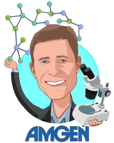 Overlay caricature of David M. Reese, who is speaking at HLTH and is Senior Vice President, Translational Sciences and Oncology at Amgen