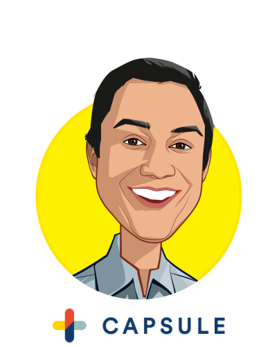Main caricature of Eric Kinariwala, who is speaking at HLTH and is Founder and CEO at Capsule