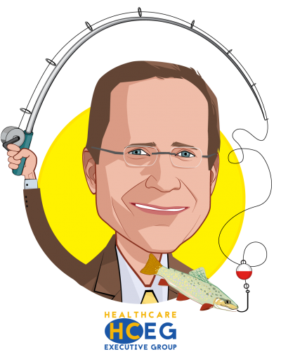 Overlay caricature of Ferris W. Taylor, who is speaking at HLTH and is Executive Director at HealthCare Executive Group (HCEG)
