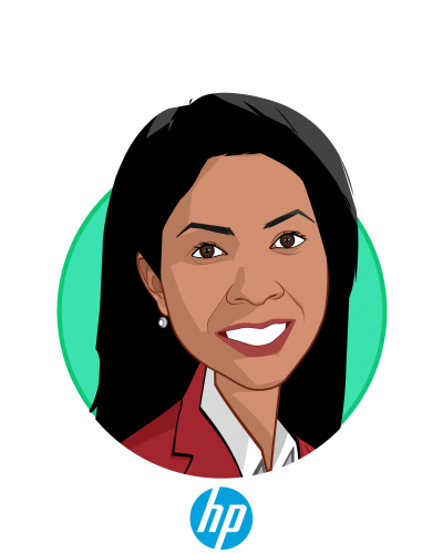 Main caricature of Fran Ayalasomayajula, who is speaking at HLTH and is Population Health Technologies and Innovations Worldwide Lead at HP