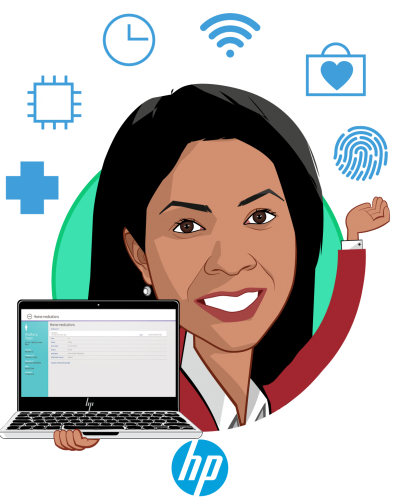 Overlay caricature of Fran Ayalasomayajula, who is speaking at HLTH and is Population Health Technologies and Innovations Worldwide Lead at HP