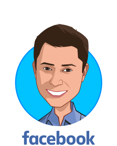 Main caricature of Freddy Abnousi, MD, MBA, MSc., who is speaking at HLTH and is Head of Healthcare – Research Partnerships at Facebook