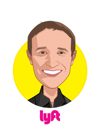 Main caricature of Gyre Renwick, who is speaking at HLTH and is Vice President, Lyft Business at Lyft