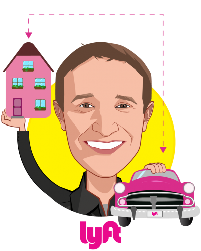 Overlay caricature of Gyre Renwick, who is speaking at HLTH and is Vice President, Lyft Business at Lyft