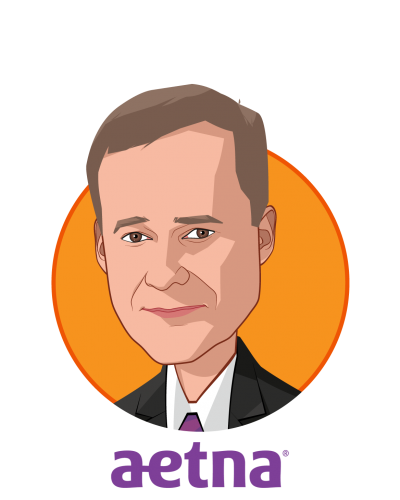 Main caricature of Harold Paz, MD, MS, who is speaking at HLTH and is Executive Vice President & Chief Medical Officer at Aetna