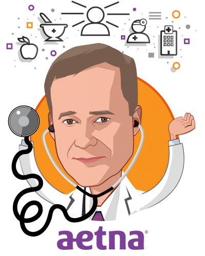 Overlay caricature of Harold Paz, MD, MS, who is speaking at HLTH and is Executive Vice President & Chief Medical Officer at Aetna