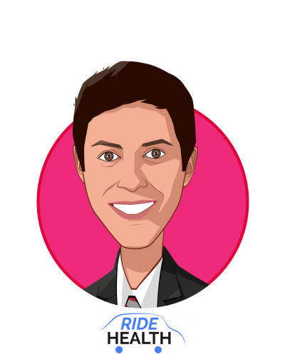 Main caricature of Imran Cronk, who is speaking at HLTH and is Co-Founder and CEO at Ride Health