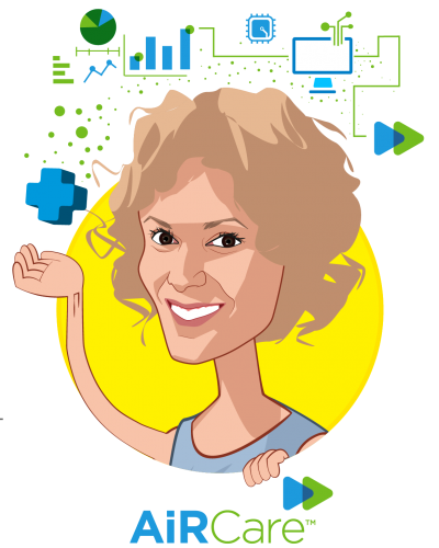 Overlay caricature of Jaclyn Wainwright, who is speaking at HLTH and is CEO at AiR Healthcare