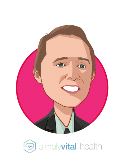 Main caricature of Jake Dreier, who is speaking at HLTH and is Director of Growth and Operations at SimplyVital Health
