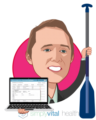 Overlay caricature of Jake Dreier, who is speaking at HLTH and is Director of Growth and Operations at SimplyVital Health