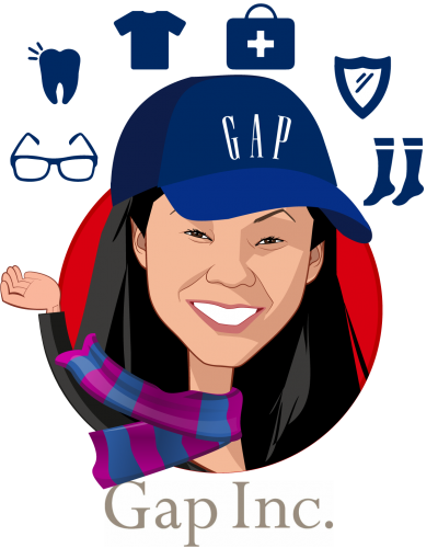 Overlay caricature of Jeni Chih, who is speaking at HLTH and is Sr Director, Global Benefits at Gap Inc
