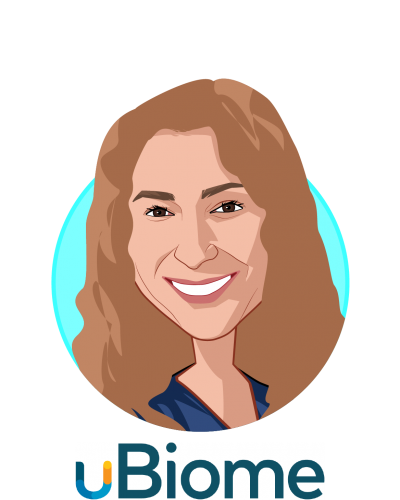 Main caricature of Dr. Jessica Richman, PhD, who is speaking at HLTH and is Co-Founder & CEO at uBiome
