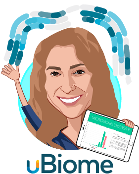 Overlay caricature of Dr. Jessica Richman, PhD, who is speaking at HLTH and is Co-Founder & CEO at uBiome