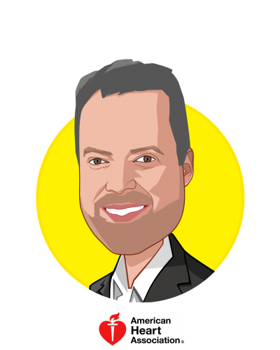Main caricature of John Meiners, who is speaking at HLTH and is Chief, Mission-aligned Businesses at American Heart Association