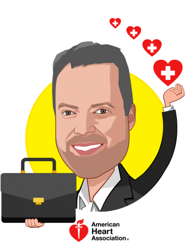 Overlay caricature of John Meiners, who is speaking at HLTH and is Chief, Mission-aligned Businesses at American Heart Association