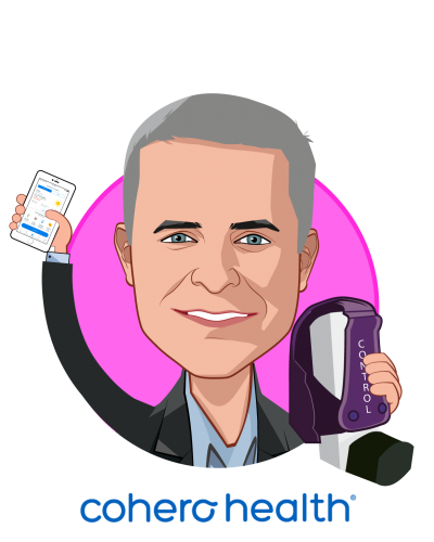 Overlay caricature of Joseph Condurso III, who is speaking at HLTH and is Chairman & Chief Executive Officer at Cohero Health